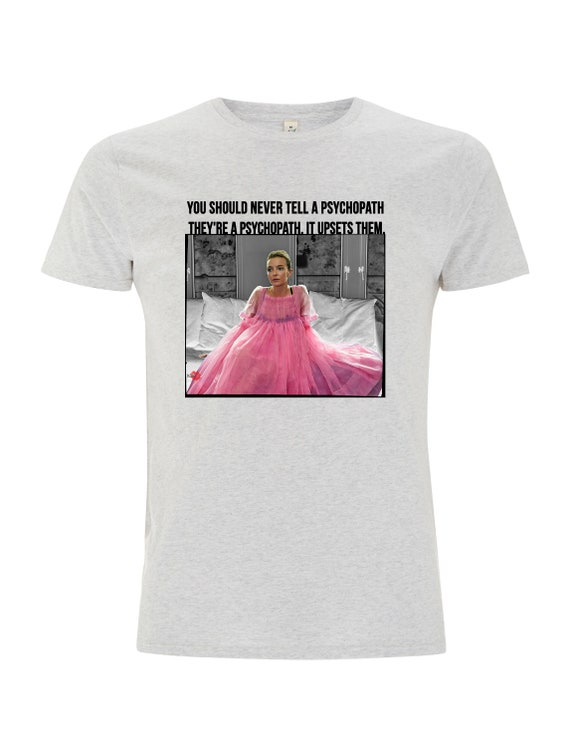 Villanelle Psychopath KiSS T-Shirt - Killing Eve Inspired - Jodie Comer Pink Tv Show Quote - British Assassin - Black Comedy Dark Timeline
