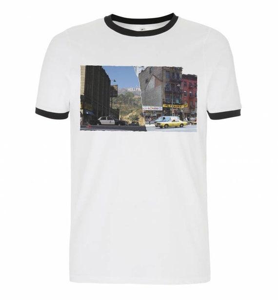 LA/NY 1980's KiSS Ringer T-Shirt - Los Angeles New York - Half and Half - Retro City