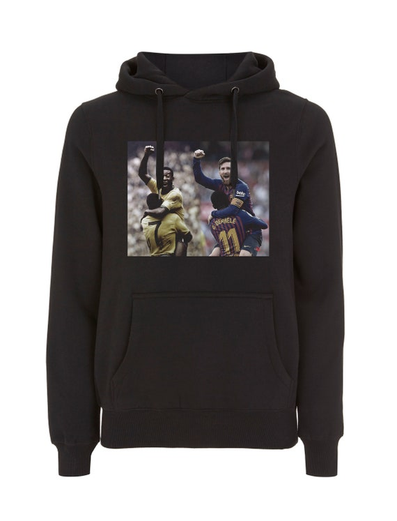 Pele & Messi KiSS Pullover Hoodie - Brazil Barcelona Argentina - Football Soccer - Icon Legend GOAT - footie fan - Celebration - Lionel