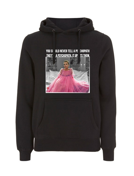 Villanelle Psychopath KiSS Hoodie - Killing Eve Inspired - Jodie Comer Pink Tv Show Quote - British Assassin - Black Comedy Dark Timeline