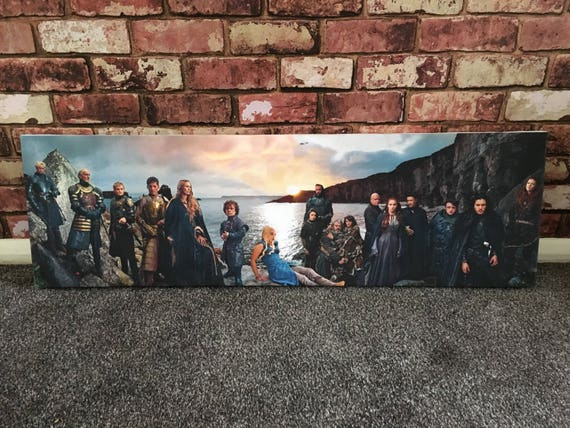 Game of Thrones Panoramic KiSS Canvas - Lannister, Targaryen, Stark, Tyrell, White Walkers - Jon Snow,Daenerys -  gift idea her/him Wall Art