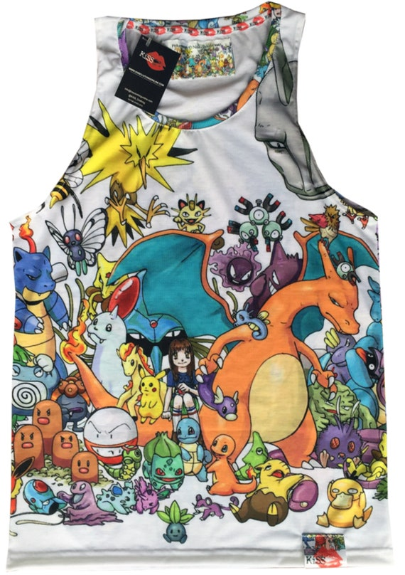 Pokemon KiSS Basketball Vest - Characters Collage - Gamer Gift for him & her - Pikachu Ash Squirtle Charizard
