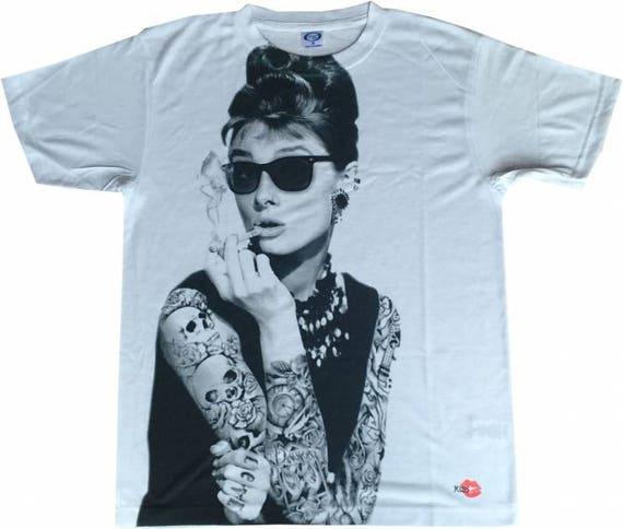 Audrey Hepburn Tattooed KiSS Large Print T-Shirt - Hollywood Icon - Ink tattoo edit - Modern - Gift Idea