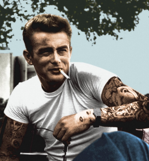 James Dean KiSS Square Canvas - Colorised Edit - 50s Rebel Without a Cause - 40s Cool - Tattooed - Tattoo