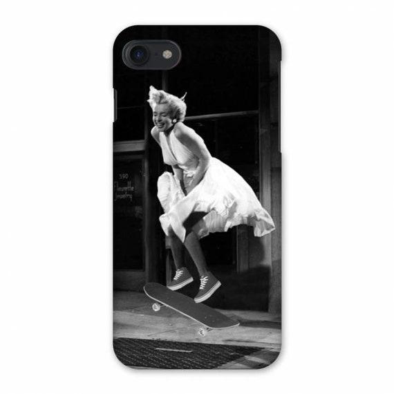 Marilyn Monroe Skate KiSS iPhone Case - Skateboarding - Ollie Jump Skater Fashion - Hollywood Seven Year Itch - Gift Idea