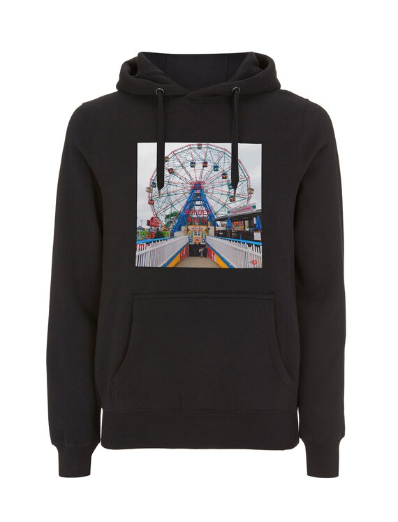 Wonder Wheel KiSS Pullover Hoodie - New York City - Coney Island - Ferris Wheel Rollercoaster - Iconic