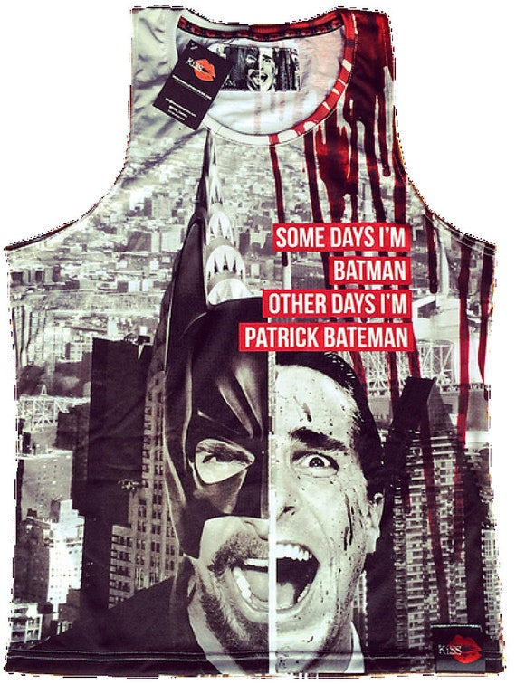 Batman/Patrick Bateman KiSS Basketball Vest - Christian Bale Dark Knight American Psycho Inspired Art - Gift Movie fan