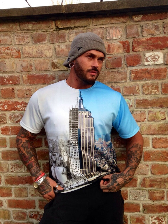 Empire State Then & Now KiSS All Over T-Shirt - New York City Manhattan History - Construction skyscraper