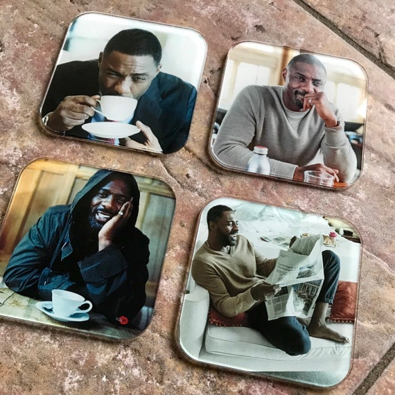 Idris Elba KiSS Coasters - John Luther Tea Coffee - British - home decor - Unusual Gift idea - living dining room - unique - Stocking Filler