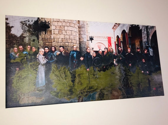 Game of Thrones Panoramic KiSS Canvas - Lannister, Targaryen, Stark, Tyrell, White Walkers - Jon Snow,Daenerys -  Season 8 Map Wall Art