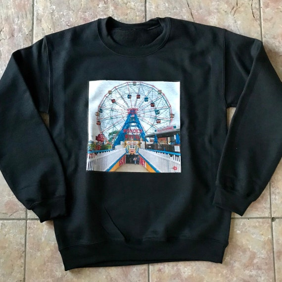 Wonder Wheel KiSS Sweatshirt - New York City Retro - Coney Island - Iconic Fairground - NYC