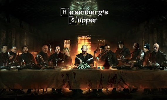 Heisenberg Supper KiSS Poster - Walter White - Breaking Bad Cast inspired artwork - The Last Supper Wall Art