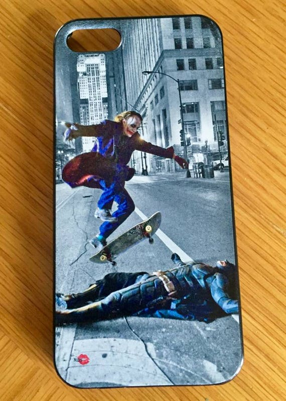 Batman/Joker Skateboard KiSS iPhone Case - Skating Trick, Ollie - Heath Ledger, Christian Bale - Dark Knight - Stocking Christmas Present