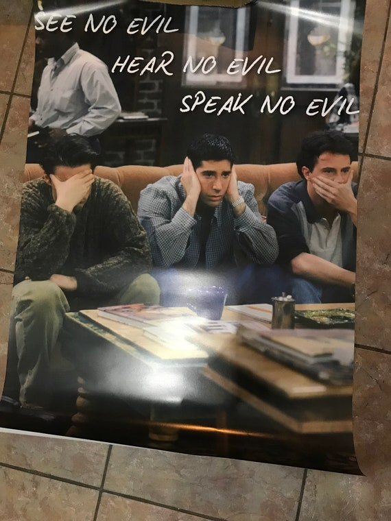 Friends Chandler, Joey & Ross, See No Evil KiSS Poster - Funny Unique Wall Art - Home Decor - TV Show sitcom fan - Christmas present