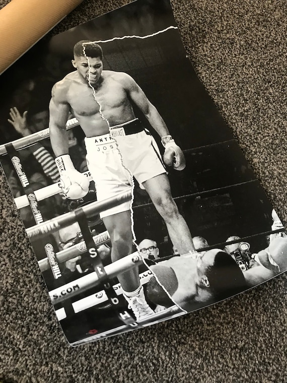 AJ/Ali KiSS Poster - Anthony Joshua V Muhammad Ali - Half and Half - Boxing Sports Fan - Christmas Present Gift Idea - Wall Art Decor
