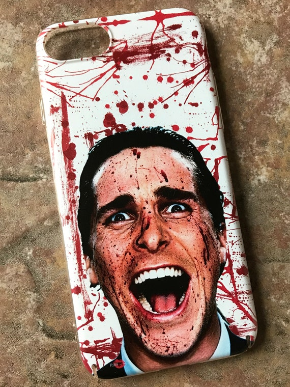 American Psycho KiSS iPhone Case - Blood Splatter Christian Bale - Have a Killer Day - Horror Funny Halloween - present