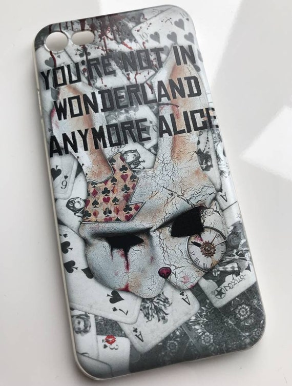 Wonderland KiSS iPhone Case - Alice - Cheshire Cat - Rabbit Hole, Cards - Dark - Twist - Stocking filler gift - darkest timeline