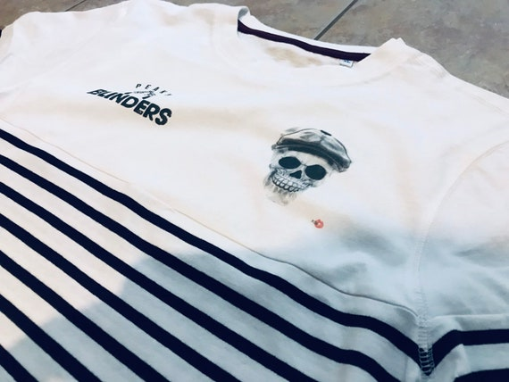 Peaky Blinders Skull KiSS Long Sleeve Stripe T-Shirt - Tommy Shelby inspired - Striped - Cillian Murphy - tv show - Gangster