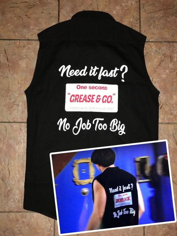 """Friends Joey Tribbiani inspired """"Grease & Go"""" KiSS Black Denim Shirt - Motor Oil, Petrol Gas Station - 90s - How You Doin - Gift idea unique"""