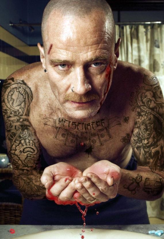Heisenberg Tattoo KiSS Poster - Walter White Tattooed - Breaking Bad inspired - TV Show Meth - Gift Idea