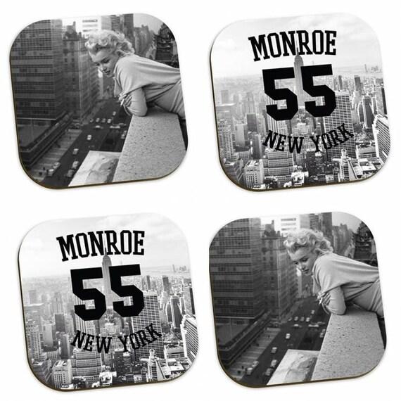 Marilyn Monroe 1955 KiSS Coasters - New York - Hollywood Icon - Actress 50s - Present idea - Home Decor