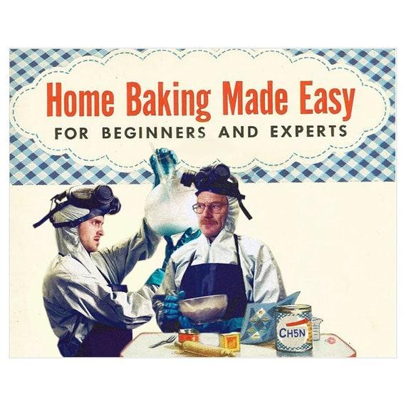 Baking Breaking Bad Baseball KiSS Art Print - Jesse Pinkman and Walter White - 30s 40s recipe book style - Vintage theme - Canvas