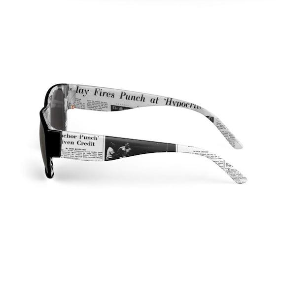 Muhammad Ali KiSS Sunglasses - Newspaper Headlines - Cassius Clay - Handmade Unique - Gift Idea for him, Boxing Fan, The Greatest