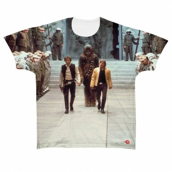 Star Trio KiSS All Over T-Shirt - Star Wars Inspired - Luke Skywalker - Han Solo - Chewbacca - The Force, The Empire Movie