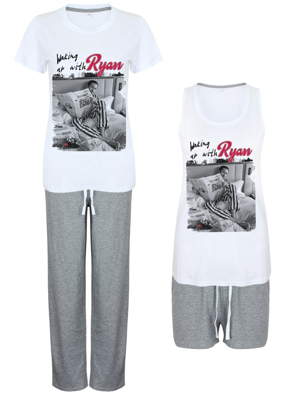 Ryan Gosling Pyjamas Night Women's KiSS Set - Gift - Choose Shorts /Trousers - Christmas or Birthday Present - Hey Girl Morning - Valentines