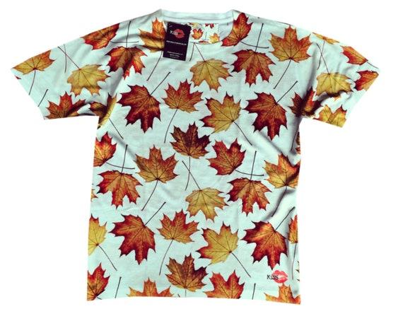 Maple Leaves KiSS All Over T-Shirt - Tyler Durden Inspired - men's gift, present - Brad Pitt - Autumn Leaf