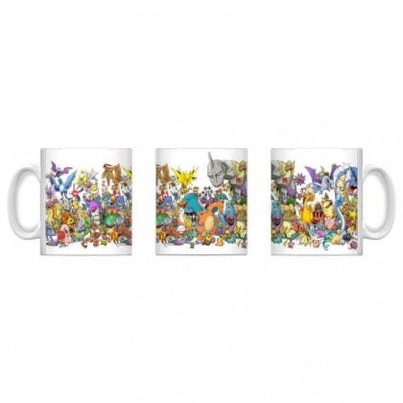 Pokemon KiSS Mug - Characters Collage - Gamer Gift for him & her - Pikachu Ash Squirrel Charizard - Stocking Filler