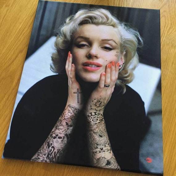 Marilyn Tattooed KiSS Canvas - Monroe Inked - Tattoo Sleeve - Wall Art - Gorgeous Decor Modern