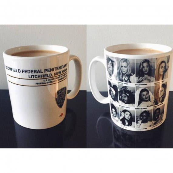 Orange Is the New Black OITNB Inmates Prison KiSS Mug - Vauseman Poussey, Alex Vause Piper Chapman, Laura Prepon, Taylor Schilling - Gift