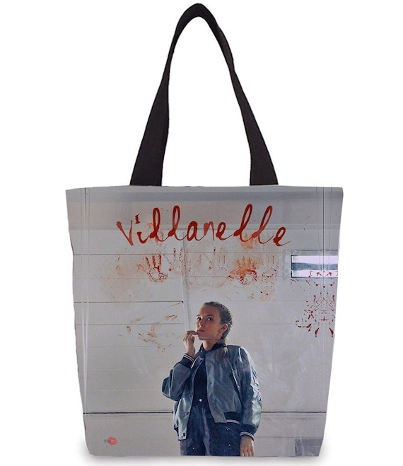 Villanelle KiSS Tote Bag - Killing Eve Inspired - Jodie Comer Tv Show - British Assasain - Black Comedy Dark Timeline - Shopper bags