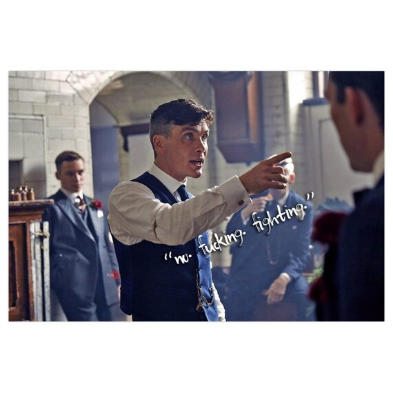 Peaky Blinders Tommy Shelby KiSS Canvas - Cillian Murphy, UK TV Show - No Fighting  - Present/Gift Idea - Gangster - Wall Art Poster