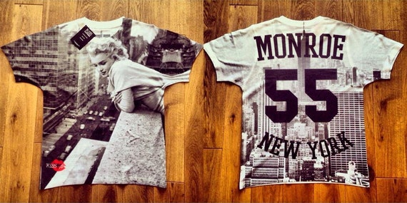Marilyn Monroe  '55 KiSS All Over T-Shirt - 50s fifties New York - Iconic NYC - Black and White