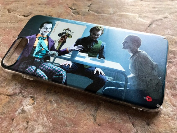 3 Jokers Meeting KiSS iPhone Case - Jack Nicholson, Heath Ledger, Jared Leto - Why so Serious - Batman - Suicide Squad Joker Cards