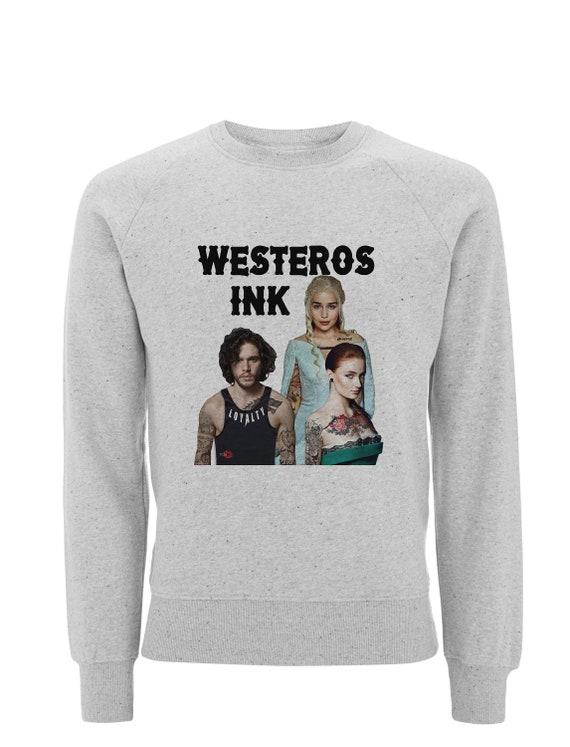 Westeros Ink Tattoo KiSS Sweatshirt - Game of Thrones inspired - Sansa, Targaryen, Stark, White Walkers - Jon Snow,Daenerys - Tattooing