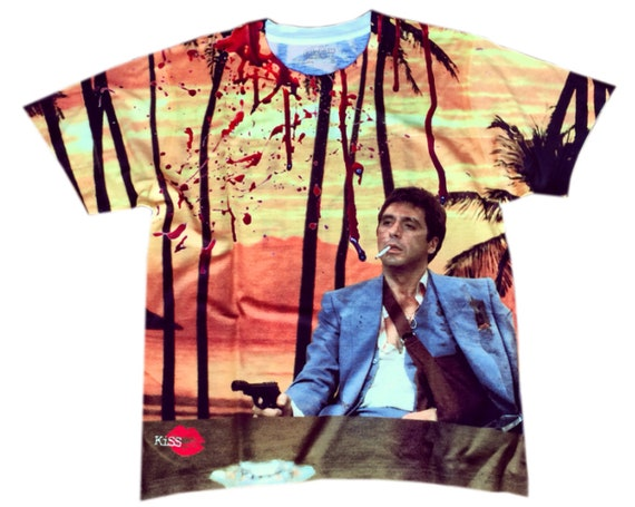Tony Montana KiSS All Over T-Shirt - Al Pacino - Scarface - Bright Orange Shirt - Say Hello to my Little Friend