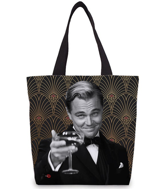 Leo Great Gatsby KiSS Tote Bag - Leonardo DiCaprio Inspired - 30s 20s Wallpaper - Shopper - Present/Gift Idea - Art Deco Jay
