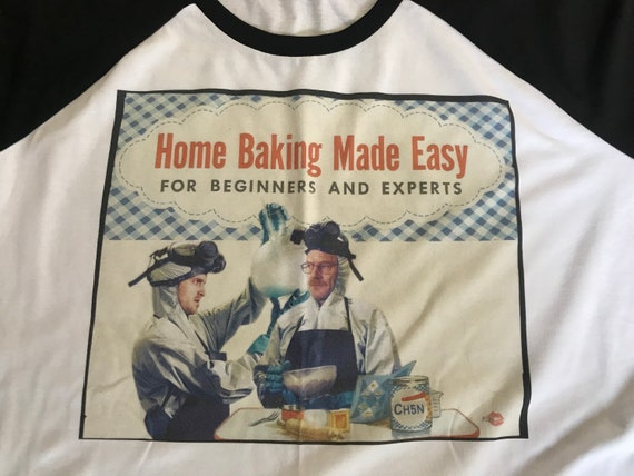Baking Breaking Bad Baseball KiSS T-Shirt - Jesse Pinkman and Walter White - 30s 40s recipe book style - Vintage theme - Christmas Present