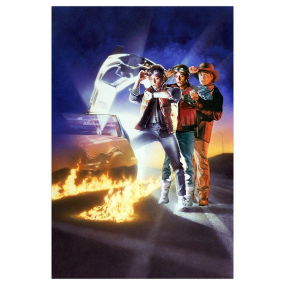 Back To The Future inspired KiSS A1 Poster - Trilogy Art - Marty McFly 80s Delorean, Doc - Michael J Fox