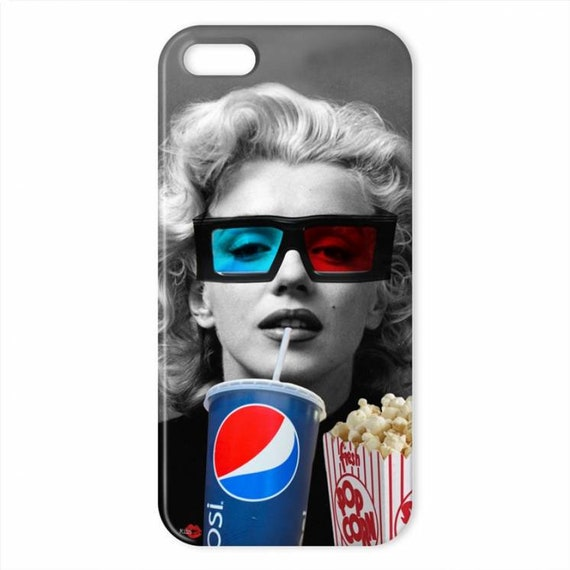 Marilyn Movie KiSS iPhone Case - Monroe movie actress inspired - Popcorn Pepsi Cinema - 3D Glasses