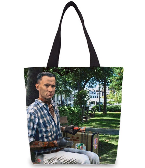 Forrest Gump Tattooed KiSS Tote Bag - Tom Hanks inspired, Bubba Gump - Run Forrest Run - Box of Chocolates - 90s - Movie - Present Shopper
