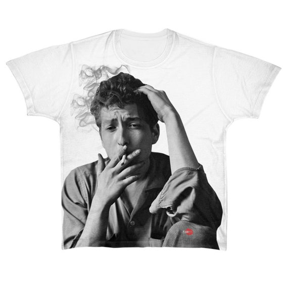 Bob Dyan KiSS Large Print T-Shirt - 50s 60s, Music themed - Smoking - Rock Old School Icon - Present/Gift Idea