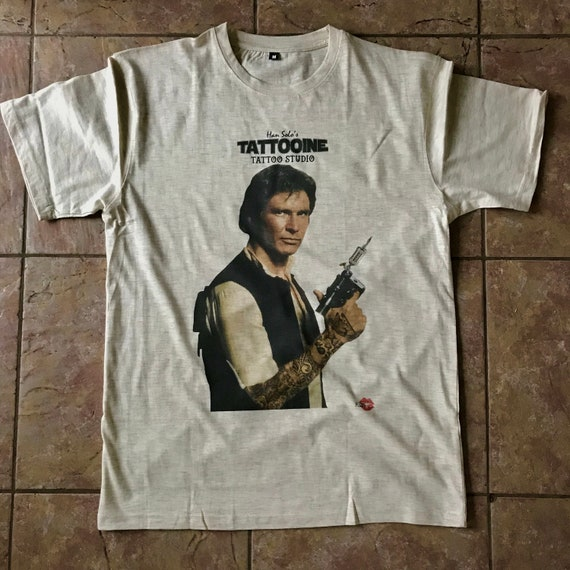 Han Solo Tattoo KiSS T-Shirt - Tatooine Tattooing - Star Wars Edit Funny - Ink - Christmas Birthday present idea