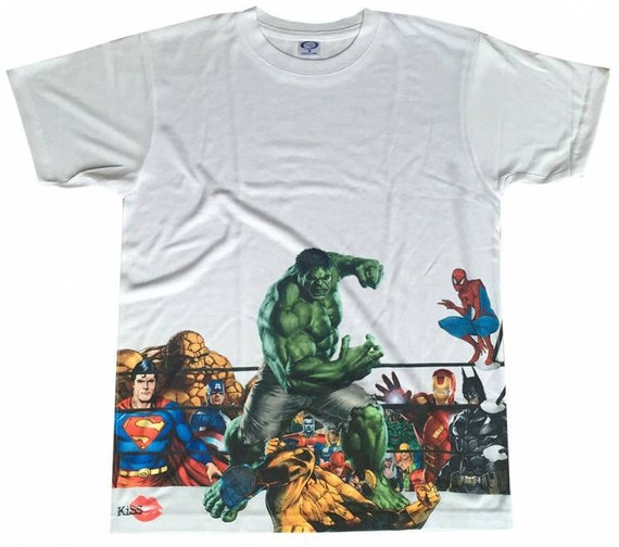 Hulk Wolverine KiSS Large Print T-Shirt  - Comics inspired - Superhero Avengers and more End Game American - Boxing - Gift Idea