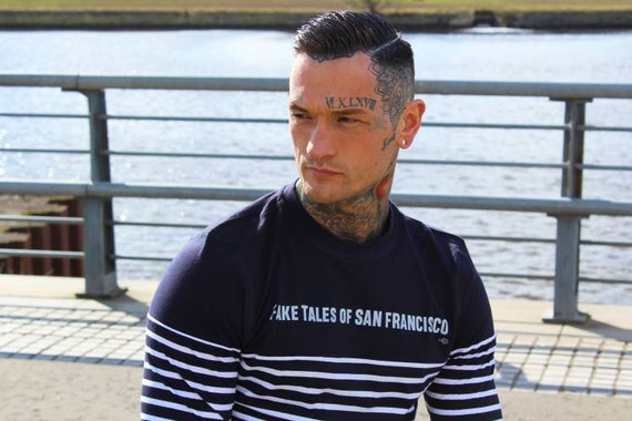 Fake Tales KiSS Long Sleeve Stripe T-Shirt - San Francisco - Arctic Monkeys Rotherham - Indie Band - Music Fan