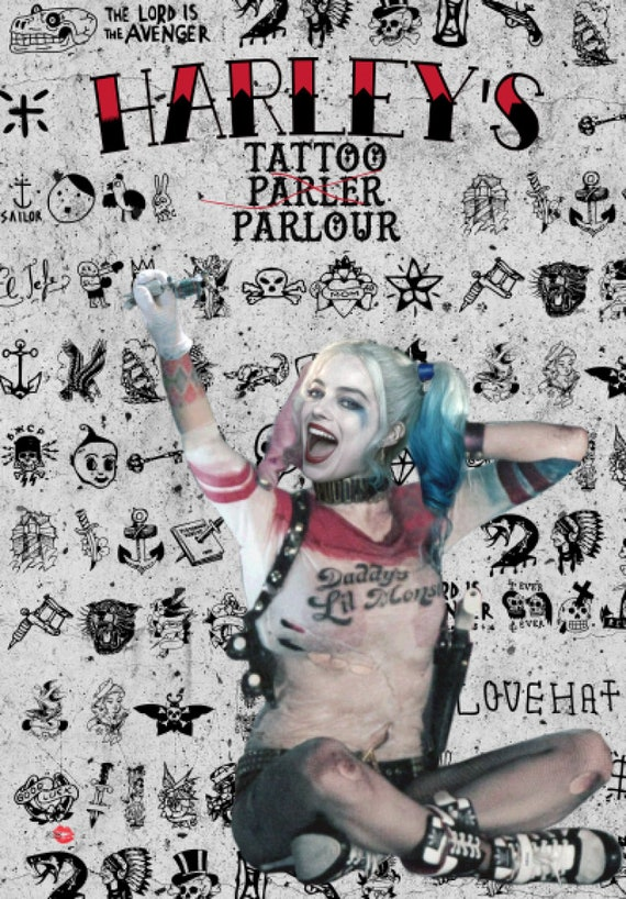 Harley's Tattoo KiSS A1 Poster - Harley Quinn Margot Robbie - Suicide Squad - Comics Tattoo Ink - Movie Fan - Wall Art Christmas Present