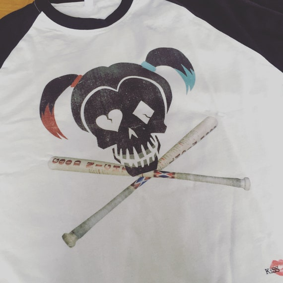 Harley Quinn Skull KiSS Baseball T-Shirt - Suicide Squad inspired - Margot Robbie - Stocking filler - Present idea - Daddy's little Monster